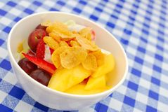 Healthy Fruit Salad Topped With Cereal Stock Photography