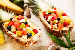 Healthy Fruit Salads on White Sand with Shells Stock Image