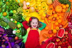 Healthy fruit and vegetable nutrition for kids royalty free stock photos