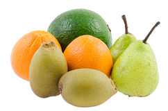 Healthy Fruits. Avocado, orange, gold kiwi, pears for healthy diet Royalty Free Stock Photography