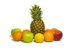 Healthy fruits apples, pineapple, bananas, oranges, lemon isol royalty free stock photography