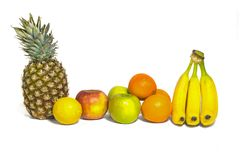 Healthy fruits apples, pineapple, bananas, oranges, lemon isol royalty free stock photos