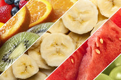 Healthy Fruits Collage. Collage of healthy fruits.  Includes berries, kiwi, orange, banana, watermelon and apple Royalty Free Stock Images