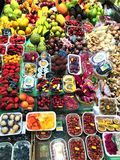 Healthy fruits and colours in Boqueria Market, Barcelona, Spain. Food, nourishment, healthy lifestyle and beautiful details in a touristic location and stock image