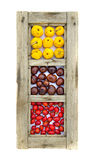 Healthy fruits and conkers in old wooden window frame isolated Royalty Free Stock Photos
