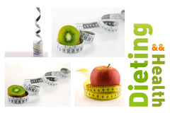 Healthy fruits and milk with measuring tape Stock Photos