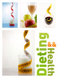 Healthy fruits and milk with measuring tape Stock Images