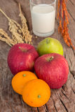 Healthy fruits and milk Royalty Free Stock Images