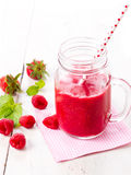 Healthy fruits smoothie drink with raspberries Royalty Free Stock Photo