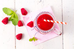 Healthy fruits smoothie drink with raspberries Stock Photography