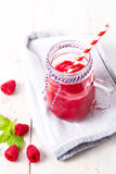 Healthy fruits smoothie drink with raspberries Stock Photos