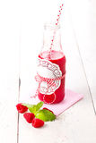Healthy fruits smoothie drink with raspberries Royalty Free Stock Photos
