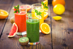 Healthy fruits smoothies Royalty Free Stock Photography