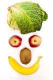 Healthy fruits and vegetable. Forming a smiling face, concept for happy person eating healthy food Royalty Free Stock Images