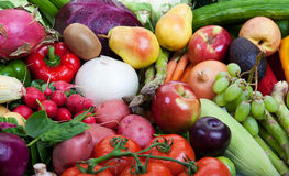 Healthy fruits and vegetables. Group of fruits and vegetables Royalty Free Stock Photo