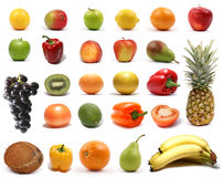 Healthy fruits and vegetables isolated on white Royalty Free Stock Image