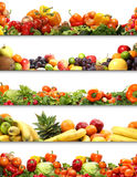 Healthy fruits and vegetables isolated on white. Collage made of healthy fruits and vegetables. Image isolated on a white background Stock Photo