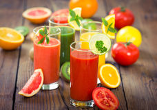 Healthy fruits and vegetables smoothies Royalty Free Stock Photography