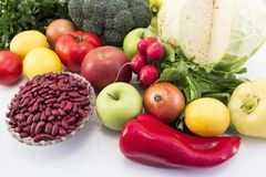 Healthy Fruits and Vegetables on White Background royalty free stock photography