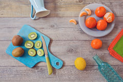 Healthy fruits on wooden table. View from above Stock Photo