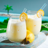 Healthy fruity banana smoothie stock photography