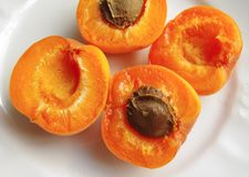 Apricots on a plate royalty free stock photo