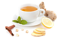 Healthy ginger tea. With lemon and spices Royalty Free Stock Photography