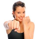 Healthy girl boxing Stock Photos