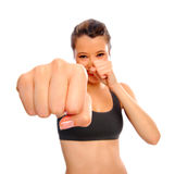 Healthy girl boxing Stock Photo