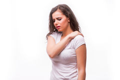 Healthy girl got neck pain and back pain Stock Image