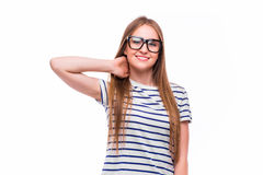 Healthy girl got neck pain and back pain Royalty Free Stock Image