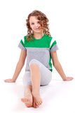 Healthy girl in green sport's shirt Stock Images