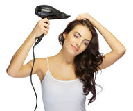Healthy girl with hair dryer. Isolated stock photos
