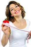 Healthy girl holding an apple Stock Images