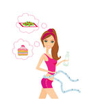 Healthy girl measuring her waist. Illustration Royalty Free Stock Photography