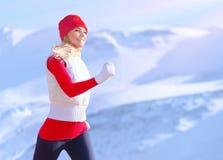 Healthy girl running outdoor stock photo