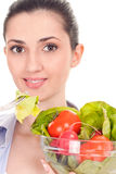 Healthy girl with salad Stock Images