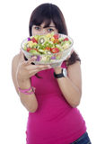 Healthy girl with salad Stock Photo