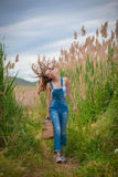 Healthy girl walking in countryside Stock Photography