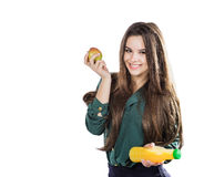 Healthy girl with water and apple diet smiling on white Royalty Free Stock Images