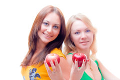 Healthy girls on a diet. Over white stock image