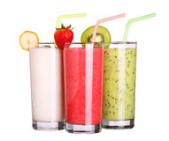 Healthy glass of smoothies collection flavor on white Royalty Free Stock Photos