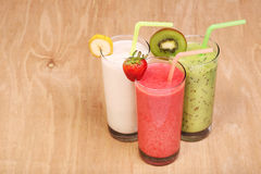 Healthy glass of smoothies collection flavor on wood Royalty Free Stock Image