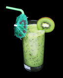 Healthy glass of smoothies kiwi flavor on black Royalty Free Stock Photo