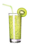 Healthy glass of smoothies kiwi flavor isolated on white Royalty Free Stock Photos