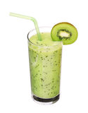 Healthy glass of smoothies kiwi flavor on white Royalty Free Stock Image