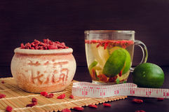 Healthy goji berries with lime Royalty Free Stock Image