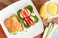 Healthy gourmet snacks. For a picnic served on a white plate with wholewheat bread topped with smoked salmon, avocado, mozzarella cheese, sweet peppers and baby Stock Photography