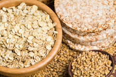 Healthy grains, cereals and whole wheat bread Stock Photo
