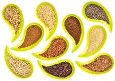 Healthy grains and seeds abstract. Healthy, gluten free, grains and seeds (flax, chia, quinoa, kaniwa, sorghum, rice, buckwheat, amaranth, teff) - top view of Royalty Free Stock Photo